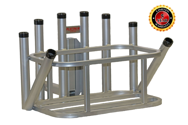 Rod rack cooler holder combo w black vinyl rings for Hitch fishing rod holder